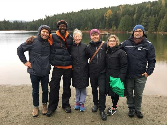 L-R: Grant Lawrence, Wakefield Brewster, Maude Barlow, Michael Crummey, Anakana Schofield, Leslie Anthony enjoy the calm and rejuvenating outdoors during this year's 18th annual Whistler Writers Festival. Photo: Paul Shore.
