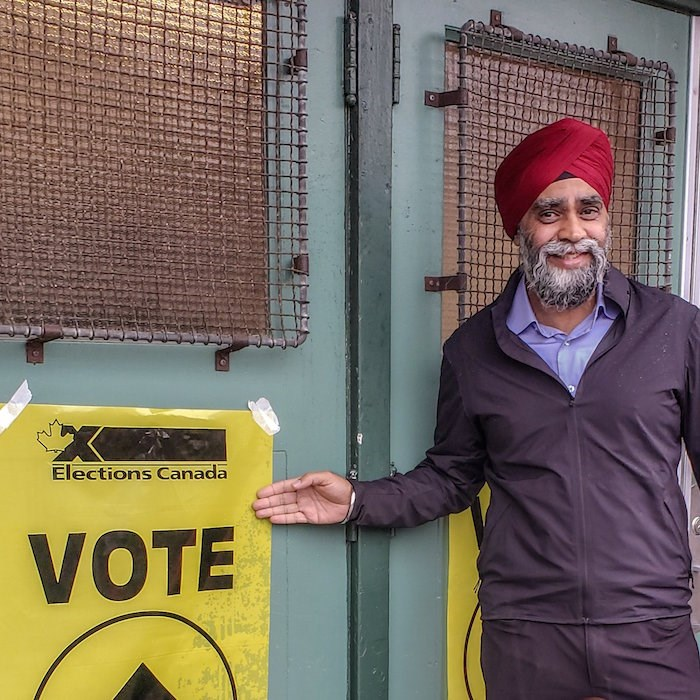 Liberal Harjit Sajjan tweeted a photo of himself voting on Oct. 21, 2019. He has been re-elected in his riding of Vancouver South. Photo: