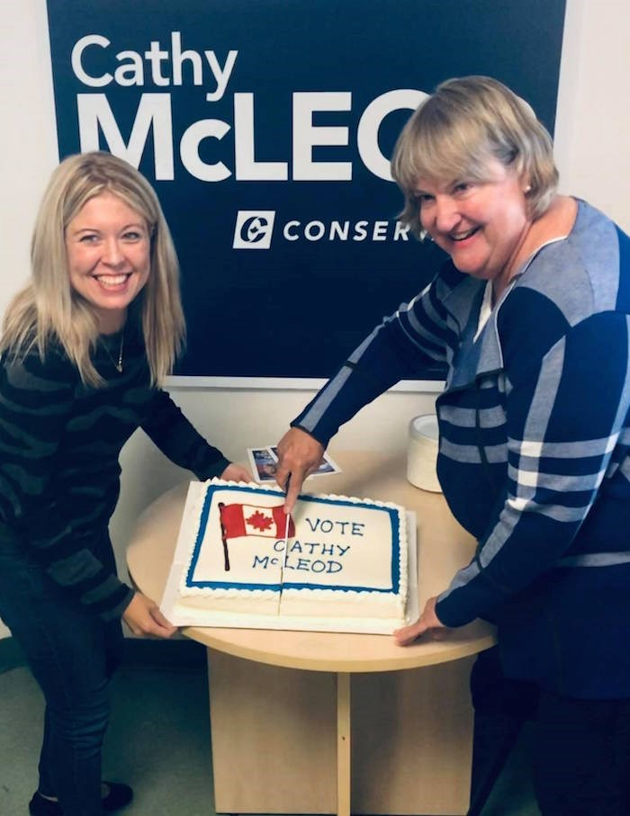 Conservative Cathy McLeod, right, in this photo posted to her official Facebook page in Sept. 2019, has been re-elected in Kamloops Thompson Cariboo. Photo: