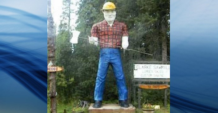 The Lumberjack statue that marked the site of the former Clarke Sawmill along the Alaska Highway was destroyed by fire. Photo via