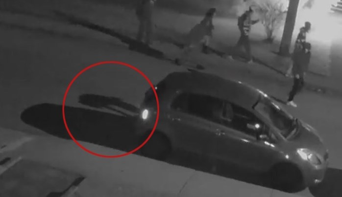 Security video shows the shadow of a person apparently jabbing at a tire on Watling Street Saturday. Photo contributed