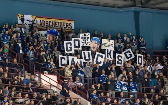 Occupying sections 325 and 326 at Rogers Areana, the Larscheiders fan club brings much-appreciated enthusiasm and sportsmanship to Canucks games. Photo Devin Manky