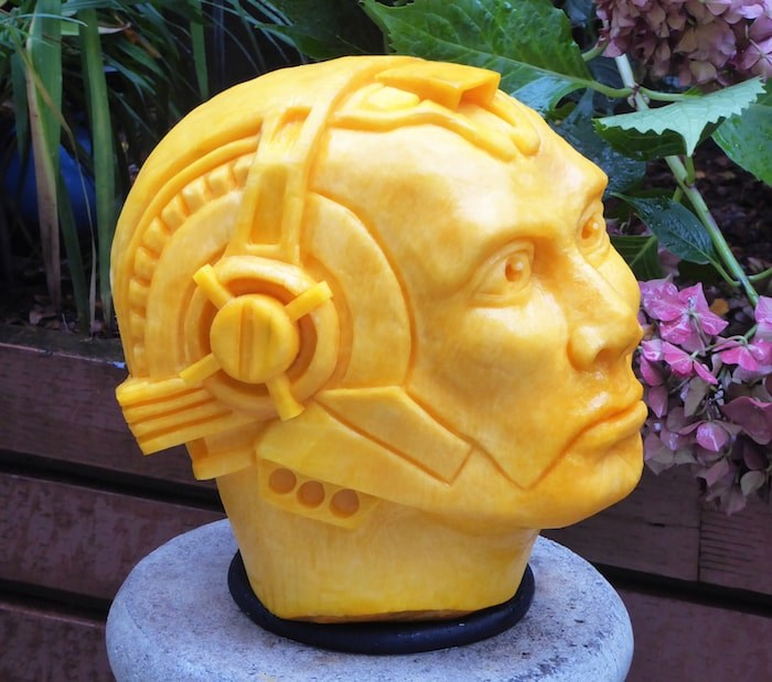 Self-taught 3D carver Clive Cooper turns pumpkins into all sorts of things, including cyborgs. Photo courtesy Clive Cooper