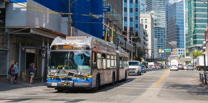 Photo: A TransLink bus in downtown Vancouver. Marc Bruxelle / Shutterstock.com