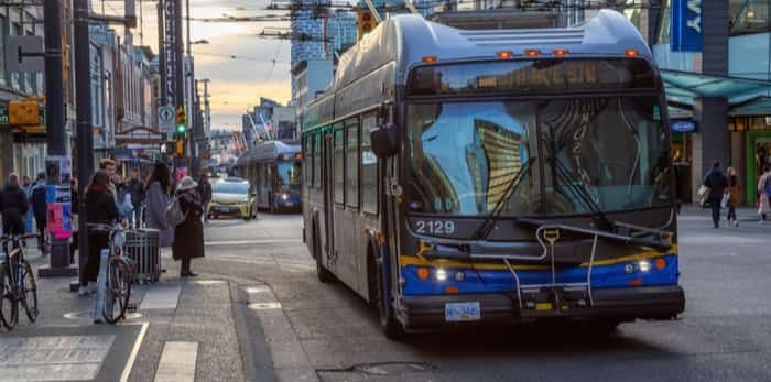 Photo: Downtown Vancouver, British Columbia, Canada - December 31, 2018: Bus driving on Granville Street. / Shutterstock