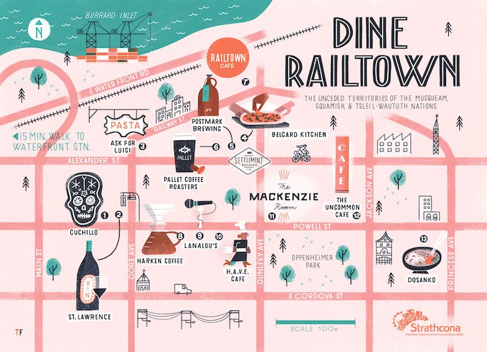 The Dine Railtown map was designed by Vancouver artist Tom Froese.