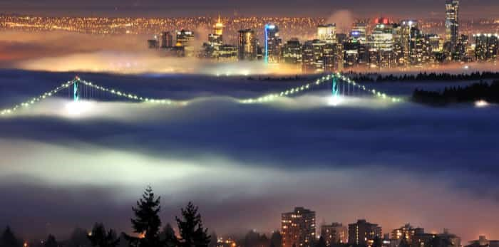 Photo: Downtown Vancouver with evening fog viewed from cypress mountain / Shutterstock
