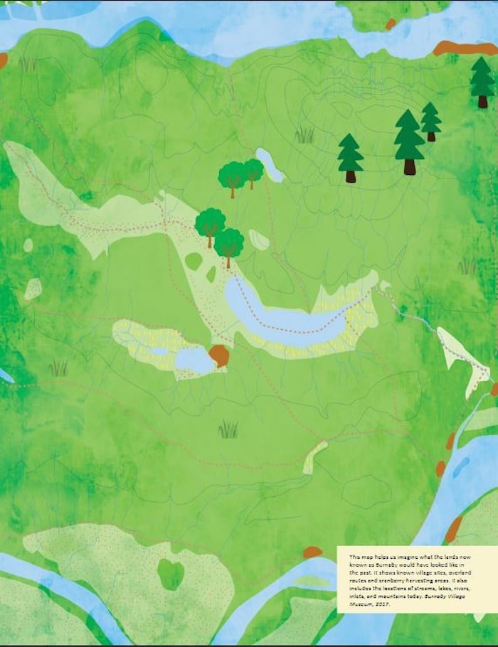 A map in the Indigenous History in Burnaby Resource Guide shows known village sites, overland routes and cranberry harvesting areas, and encourages viewers to imagine what the lands now known as Burnaby would have looked like in the past. - Burnaby Village Museum