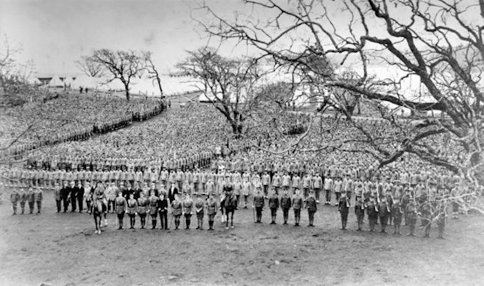 A parade drill led by the 5th British Columbia Company of the Royal Canadian Garrison Artillery, charged with imposing discipline on the recruits. Photo via Metchosin School Museum
