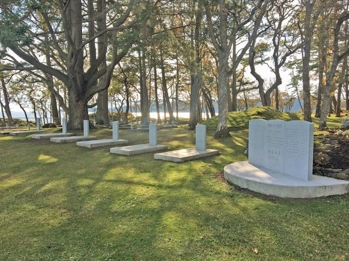 A memorial for 21 men buried on the grounds of Metchosin's William Head prison was unveiled Thursday. They were among 85,000 Chinese labourers who passed through on their way to the First World War. Photo via Dominique Boulais/Commonwealth War Graves Commission