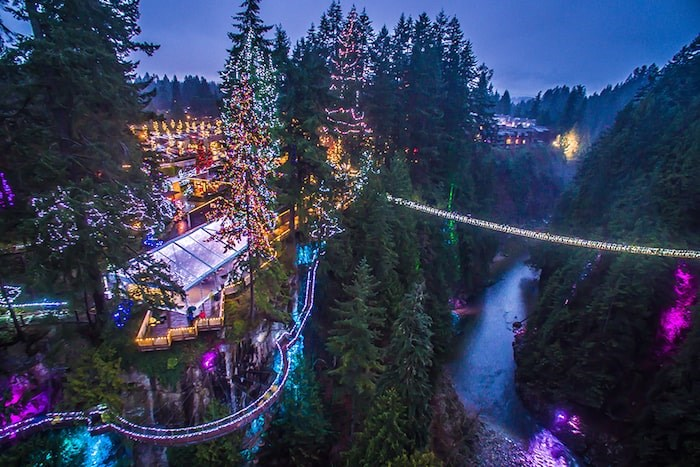 The dazzling Canyon Lights returns to delight locals and visitors of all ages at Capilano Suspension Bridge Park in North Vancouver. Photo courtesy Canyon Lights