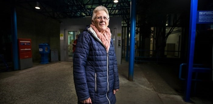 Marilyn Horsley at the entrance to the Victoria General Hospital. Horsley's son Andrew is on life support after spending seven days trapped under an ATV.