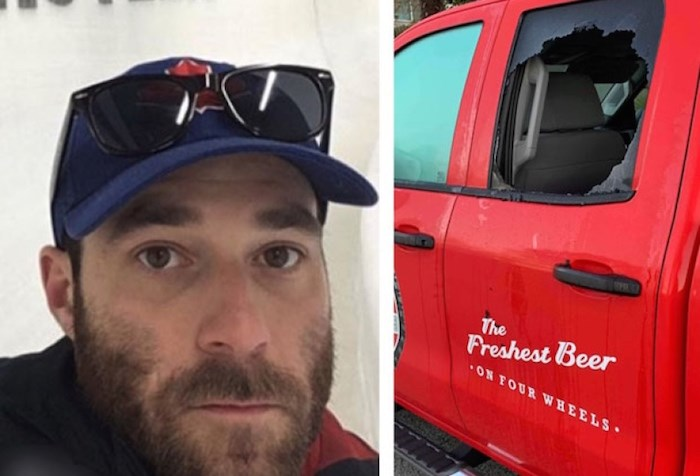 Canadian Development Team member Taylor Purdy had his truck broken into overnight on Tuesday while it was parked outside a friend's place on Beach Avenue in Vancouver. Photo via Taylor Purdy/Facebook