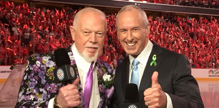 Don Cherry and Ron McLean on Hockey Night in Canada. Photo @CoachsCornerDC