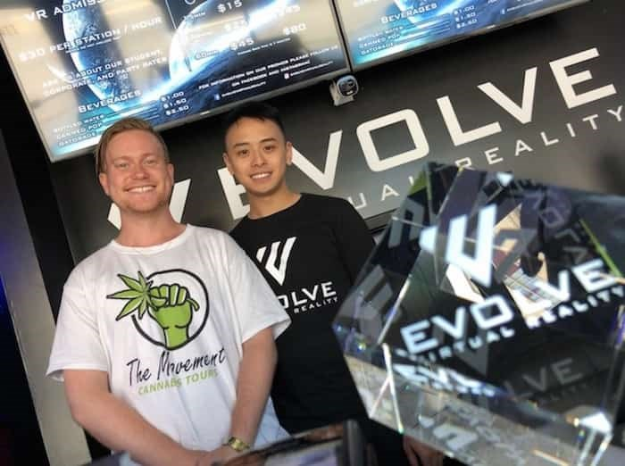 Keenan Hall (left), owner and co-founder of The Movement Cannabis Tours, with Mathew Mah, co-owner of Evolve Virtual Reality, where Hall sometimes takes tourists who take part in his tours Photo: Chuck Chiang