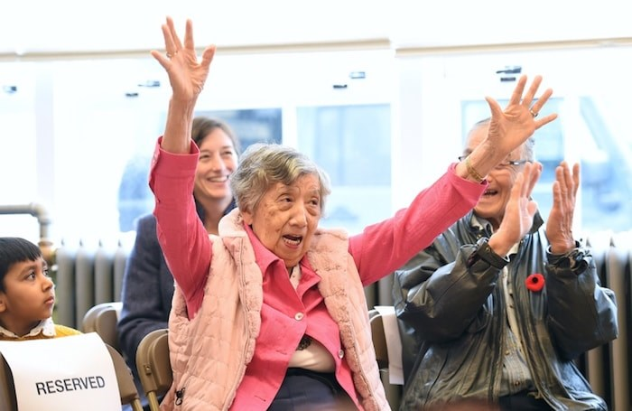Ritsu Saimoto, 86, was a grade one student at the Vancouver Japanese Language School in 1940. She returned to the school Wednesday to celebrate its National Historic Site designation by Parks Canada. Photo by Dan Toulgoet/Vancouver Courier