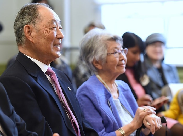 ancouver Japanese Language School alumni Dr. Aki Horii and Mary Kawamoto attended Wednesday's ceremony. Photo by Dan Toulgoet/Vancouver Courier
