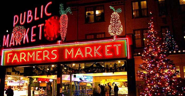 Celebrate the holidays at the Pike Place Market. Photo Visit Seattle