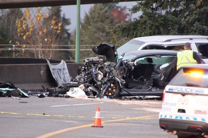 A Burnaby overpass was closed to traffic and multiple people were sent to hospital after being involved in a head-on collision Sunday afternoon. Photo by Shane Mackichan