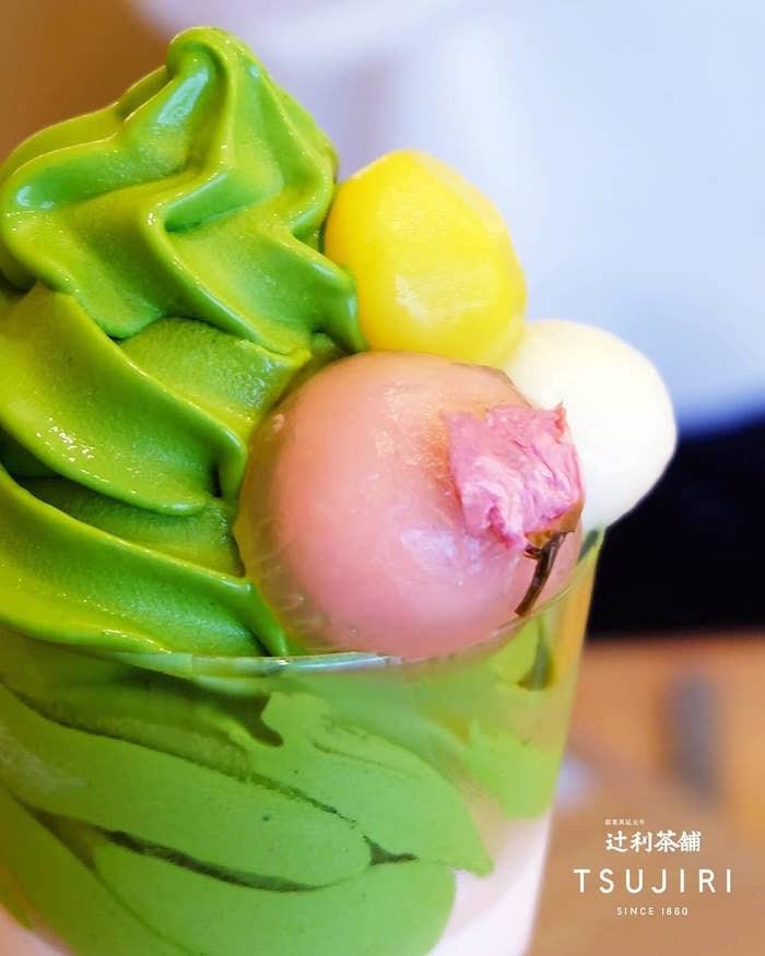 Matcha soft serve parfaits at Tsujiri.