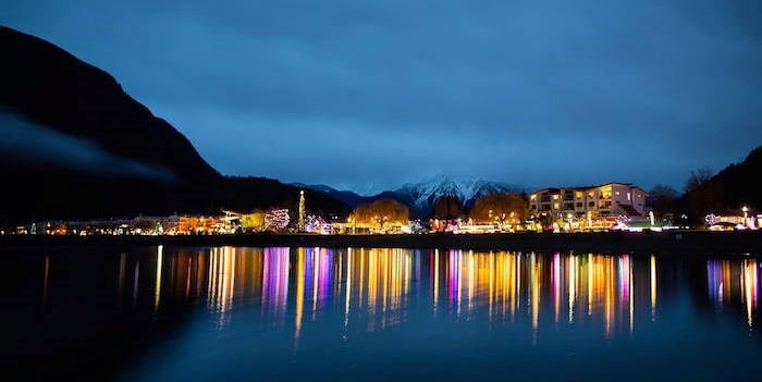 During Lights by the Lake in Harrison Hot Springs you'll see one kilometre of the waterfront glow with festive lights. Photo: