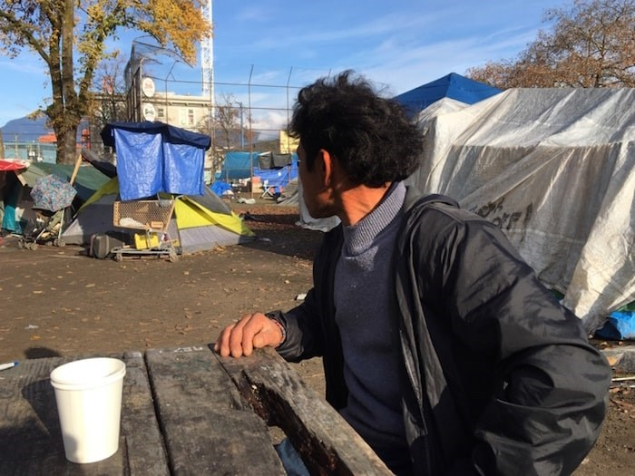 Edwin Yobani Zarabia, who is wanted in Texas for a murder dating back 19 years ago, lives in a tent in Oppenheimer Park. Photo by Mike Howell