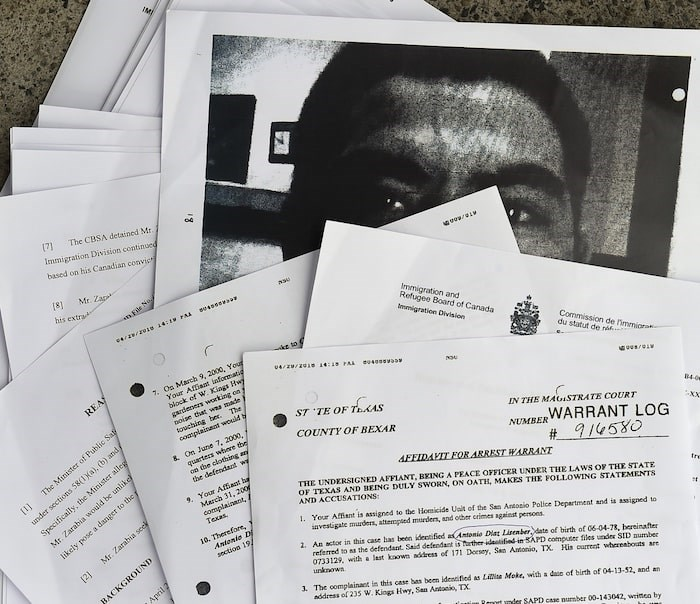 Some of the documents obtained by the Courier regarding the case of Edwin Yobani Zarabia (a.k.a. Antonio Diaz Lisenber). Photo Dan Toulgoet