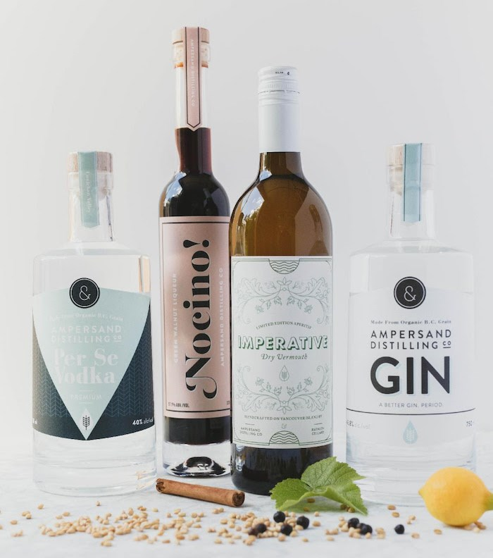 Gin, vodka, Nocino, and a vermouth round out the offerings from B.C.'s Ampersand Distilling. Photo courtesy Ampersand