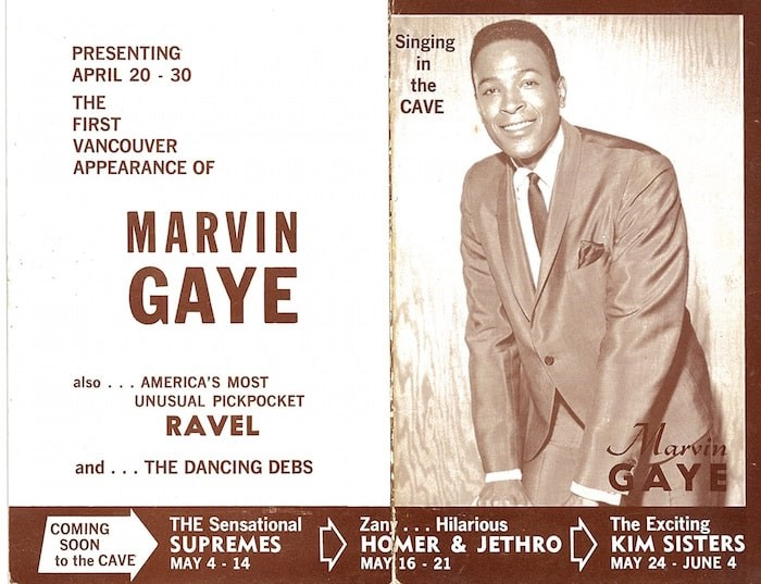 A poster from Marvin Gaye's performances at the Cave. Photo courtesy of Neptoon Records archives