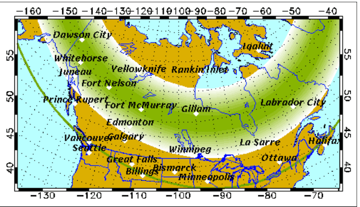 Northern Lights Canada Map You might be able to see the northern lights over Metro Vancouver