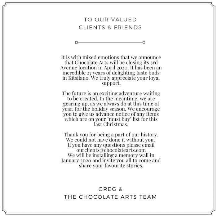 Chocolate Arts sent this farewell message to their e-mail subscribers today.