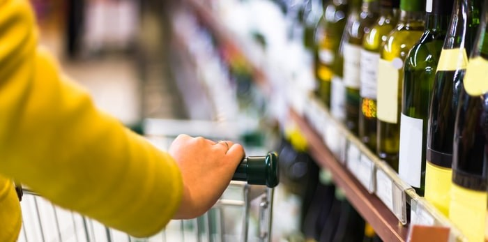 You can buy wine in B.C. grocery stores now. So why not beer? Photo: Wine in grocery store/Shutterstock