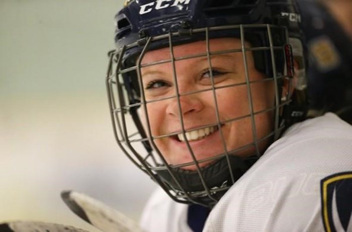 Meredith Goldhawk, a former University of Windsor hockey player, is pictured in a handout photo in 2018 at South Windsor Arena in Windsor, Ont. THE CANADIAN PRESS/HO-Meredith Goldhawk