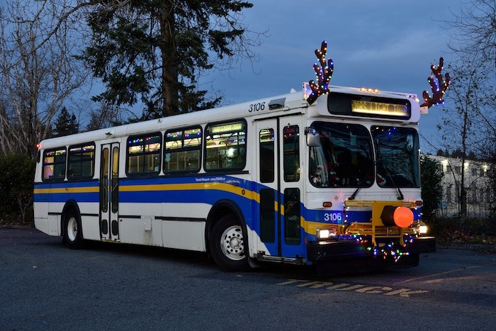 This year's TRAMS Christmas Lights Tour will be in Surrey, on this New Flyer from 1991 decked out like Rudolph. Photo:
