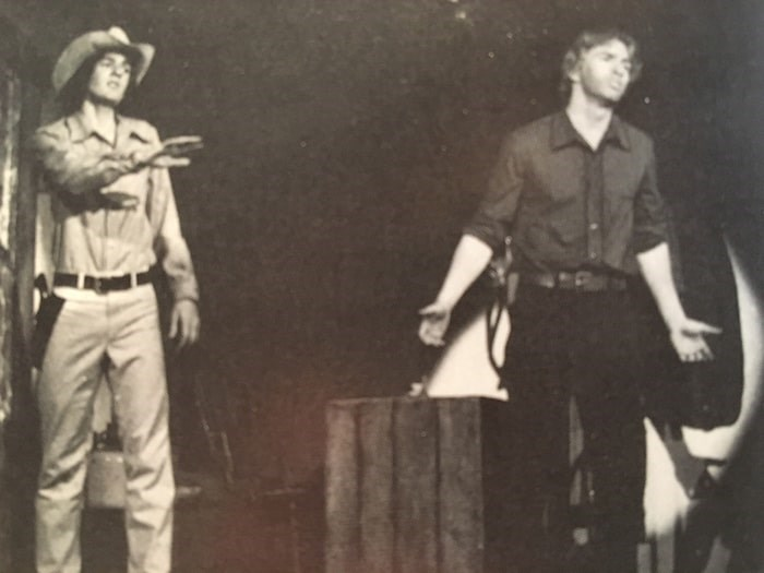 """Current CBC Vancouver news anchor Mike Killeen (left) on stage with John Mann at Hillside Secondary's 1980 production of """"Oklahoma."""" Photo courtesy of Nigel Bennett"""