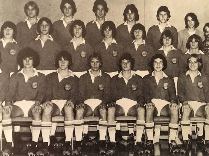 Hillside secondary Senior Boys Rugby team. John Mann seated at centre. Photo courtesy of Nigel Bennett