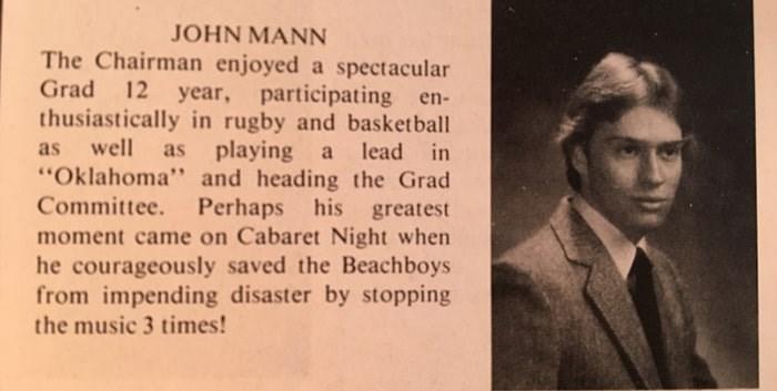 John Mann's grad write-up in Hillside secondary's 1980 yearbook. Photo courtesy of Nigel Bennett