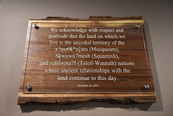 The wording of the land acknowledgement sign. Photo: Dan Toulgoet