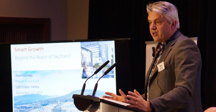 """Don Luymes, manager of civic lands and facilities for the City of Coquitlam, spoke at a """"smart development"""" forum hosted by the Urban Development Institute in Surrey. Photo: Graeme Wood"""
