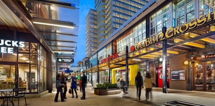 Marine Gateway by PCI Developments, whose VP of development Tim Grant was also on the panel, is a mixed-use project with retail, entertainment and residential, including public spaces that foster social interaction. Image via pci-group.com