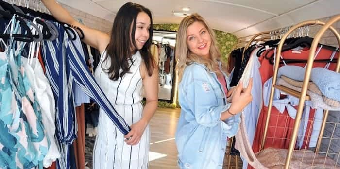Former Capilano University classmates and current mobile clothing boutique entrepreneurs Zofia Rodriguez and April Robb can now operate out of both Lonsdale Quay and 92 Lonsdale Ave. Photo: Paul McGrath / North Shore News