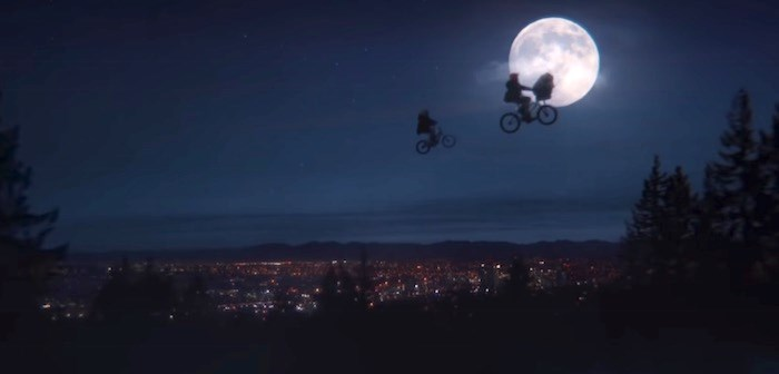 E.T. and his next generation of pals ride in the skies above...Vancouver. Screenshot/YouTube