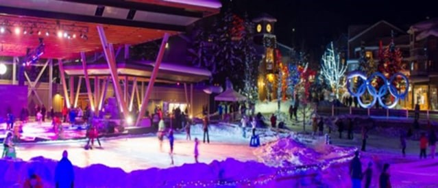The outdoor skating rink at Whistler Olympic Plaza is an inspiring place to ice skate outdoors with your family and friends. Photo: Resort Municipality of Whistler