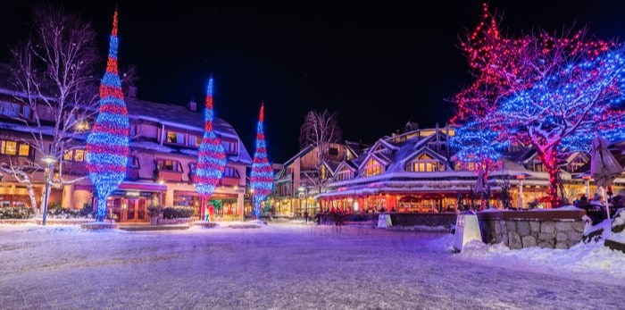 Up to 350,000 bulbs in total, with about 7,000 bulbs on each tree, transform Whistler Village into a winter wonderland each holiday season. Photo: Shutterstock