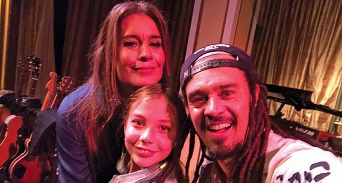 Dr. Renata Lewis-Arnott, Esme Arnott and musician Michael Franti at The Rocker's Ball fundraiser in San Francisco. The foundation granted Whistler's Mischa Arnott's wish to meet Katy Perry before her passing 18. Photo: Supplied