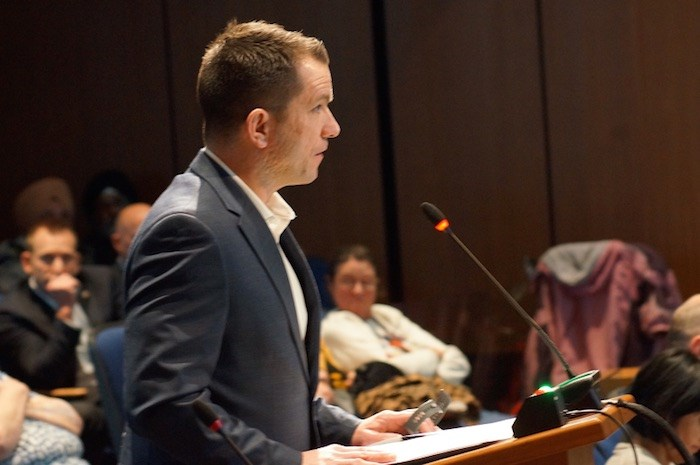 Surrey Firefighters Association president Mark McRae spoke to council, warning of a hiring freeze. Photo by Graeme Wood/Glacier Media