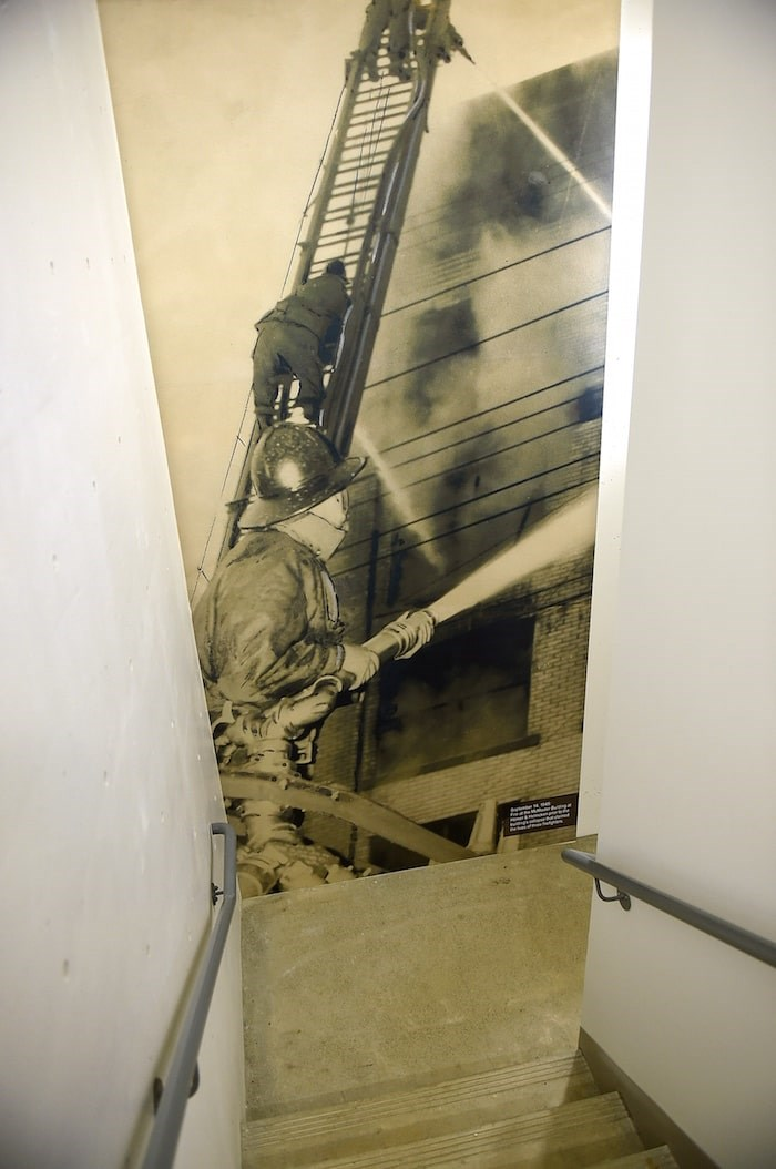 Historic images can be found in places such as a stairwell where one commemorates a Sept. 14, 1945 fire at the McMaster building at Homer and Helmcken prior to the building's collapse. The incident claimed the lives of three firefighters.