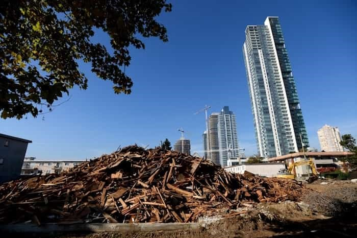 Rental units on Sussex Avenue at Metrotown were demolished to make way for new condos.