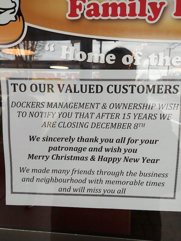 Dockers announced they will be closing on Dec. 8. Photo: