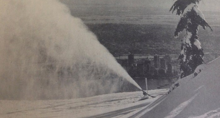 An image from a Grouse Mountain Resort newsletter in 1975 shows the snow-making equipment during its first season of extensive use. Photo courtesy Blake Butler/Grouse Mountain
